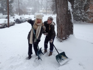 My very attractive friend Annabel and I shovelling snow!
