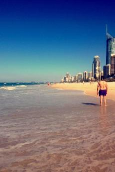 Surfers Paradise, Gold Coast. Gold Coast is accessible by train straight from Brisbane, taking only about an hour! Surfers Paradise is a very touristy destination within Oz, and is somewhere you can definitely stock up on Australia merchandise,