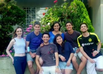 my Brazilians housmates and I outside our house