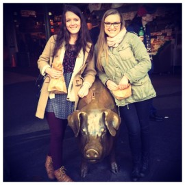 Pike Place Market's mascot - Rachel the piggy bank!