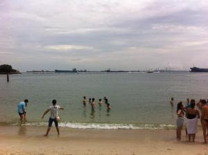 One university trip was to Sentosa Beach, a man made beach in Singapore