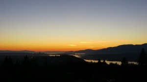 View of Vancouver at sunset from Burnaby Mountain Park