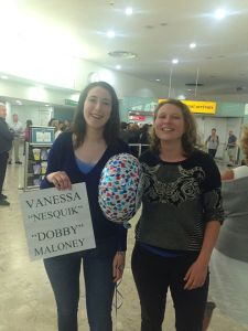 A nice airport welcome from my sister