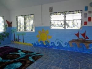 The mural I helped paint in the newly built pre-school