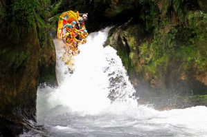 Rafting a seven metre waterfall at Kaituna