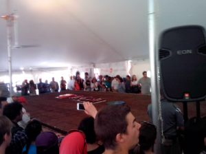 Unveiling the worlds largest Brownie, made by McGill staff. Weighing 2 tonnes and feeding about 20,000 people!