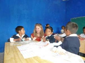 Working with the children in the schools.