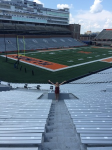 During our first week here we snuck into the empty football stadium (not really, a guy on a quad bike said it was okay). I can't wait to be inside when a game actually happens and the stands are full of students decked out in orange.