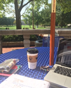 """I was sat doing some homework between classes the other day on the terrace of the student union, overlooking the quad in 27 C heat and had my first """"wow, I actually go to uni here"""" moment. So I took an Instagram photo to celebrate."""