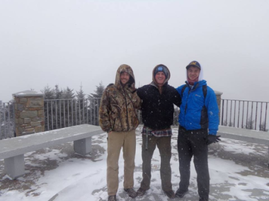 Flynn, Mitchell and I at the top of Mt. Mitchell, the highest peak East of the Mississippi.