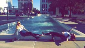 Making the most of the sunshine in Dealey Plaza