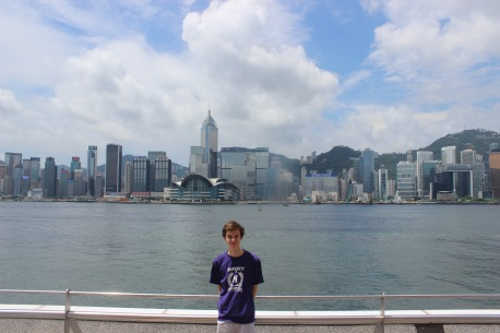Proudly wearing the UoM t-shirt in HK