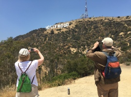 My parents just being tourists in Los Angeles, California