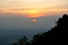 Early morning sunrise on the hillside