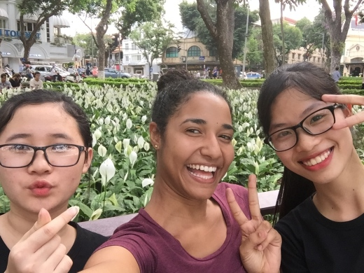Helping two Vietnamese girls to practice their English