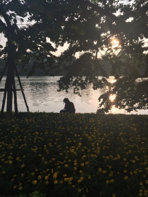 Vietnamese girl studying along Hoan Kiem Lake (I stalked so many locals the entire trip)
