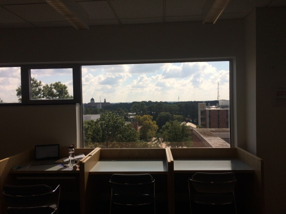My favourite study spot in the library, with big windows for good sunlight and a nice view of the Brickyard below.