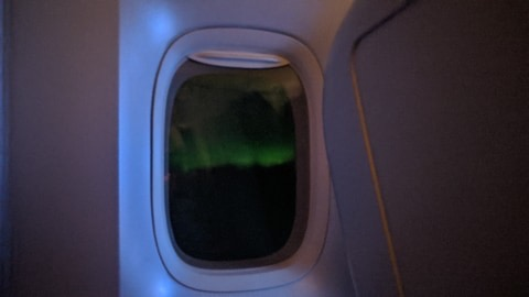 Seeing the Northern Lights on the flight home!